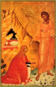Mary Magdalene greets the risen Christ in the garden