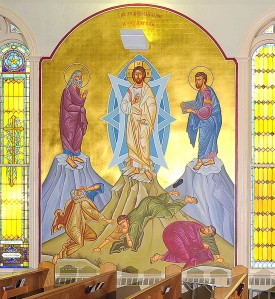 The wall icon of the Transfiguration at Holy Trinity Church. Elijah is shown on the left and Moses on the right (holding the tablets of the Ten Commandments)