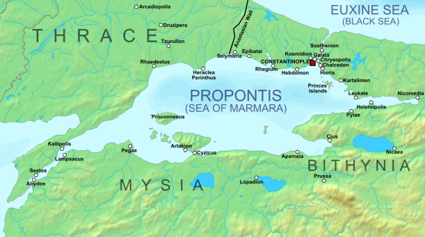 Chalcedon was located in what today is Turkey, across the water from Constantinople (click to enlarge)