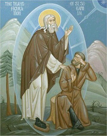 St. Seraphim of Sarov in the divine light with Motovilov