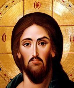 the face of jesus (detail from an icon by ilian rachov), tempera on wood