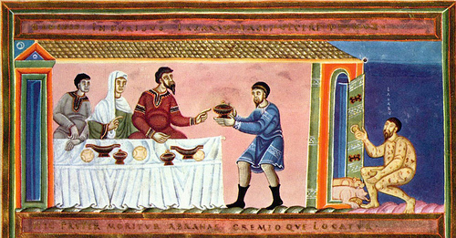 The Rich Man and Lazarus in a medieval manuscript
