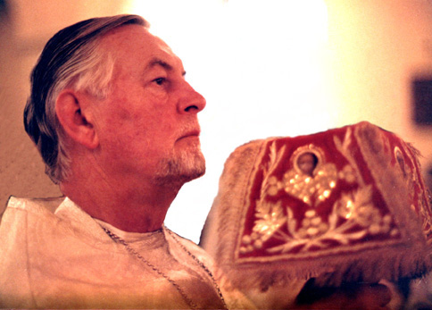 Fr. Alexander at the Great Entrance of the Divine Liturgy at St. Vladimir's Seminary Chapel in the early 1980s.