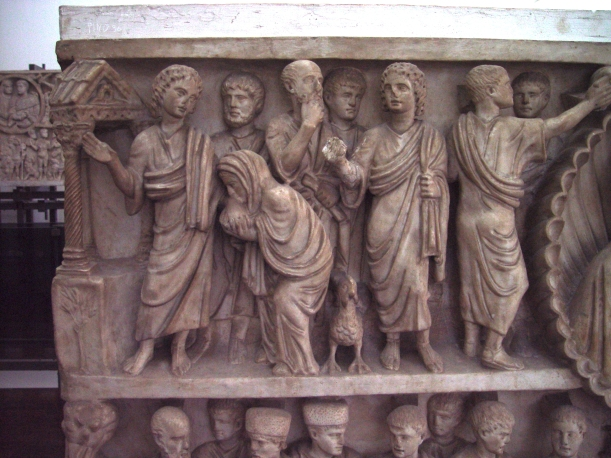 "Christ healing the crippled woman who was bent over. From the so-called ""Two Brothers Sarcophagus"" - mid-4th century, in the Vatican Museum."