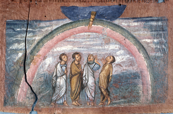 The light at the end of the tunnel - Noah and his sons see the rainbow of God's promise (6th century manuscript)