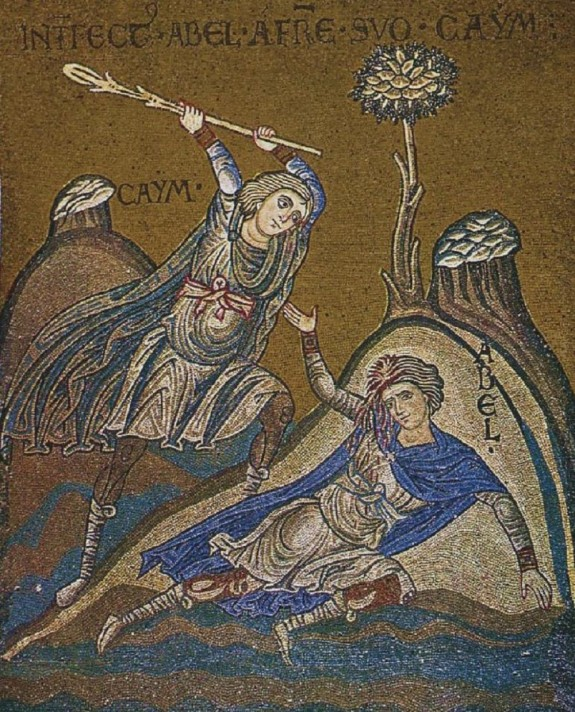 Byzantine mosaic of the murder of Abel at the Cathedral of Monreale