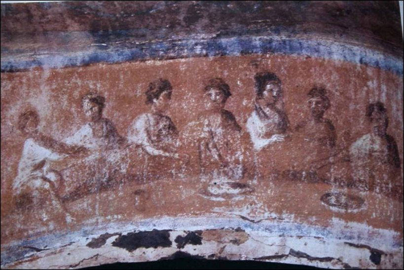 A common meal on the walls of the Catacombs of St. Priscilla in Rome - a vision of the feast promised by God. May every eucharistic meeting in our churches be an image of this feast and its universal openness!