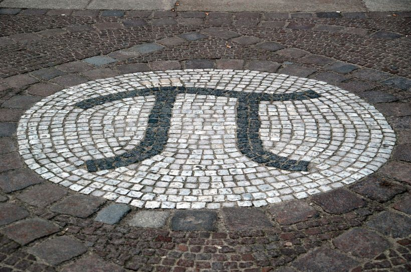 Mosaic representation of π outside the Mathematics Building at the Technical University of Berlin.