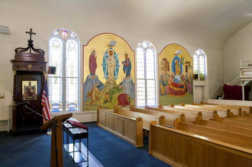 The South Wall at Holy Trinity Church, Portland, Maine (click to enlarge). Transfiguration and Dormition icons.