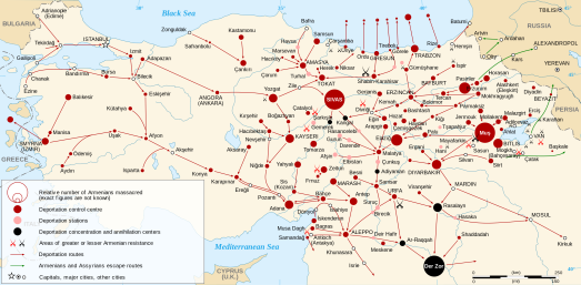 Map of massacre locations and deportation and extermination centers