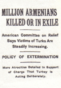 An article by the New York Times dated 15 December 1915 states that one million Armenians had been either deported or executed by the Ottoman government.