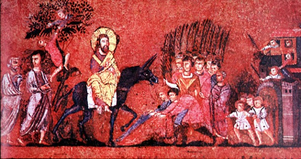 "Entry into Jerusalem from the Codex Rossanensis (""the Rossano Gospels""), 6th century illuminated manuscript"