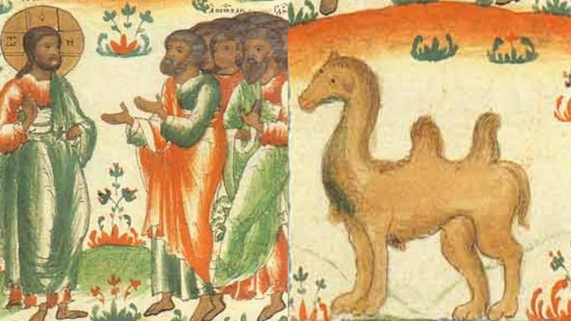 Manuscript illustration of the disciples expressing shock at the words of Jesus about a camel going through eye of a needle (click to enlarge)