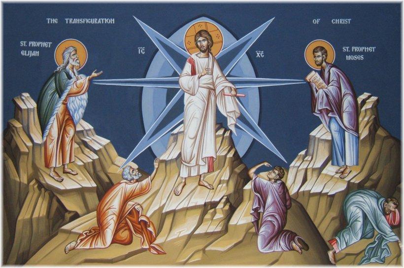 Rays of divine glory emanate from the transfigured Christ