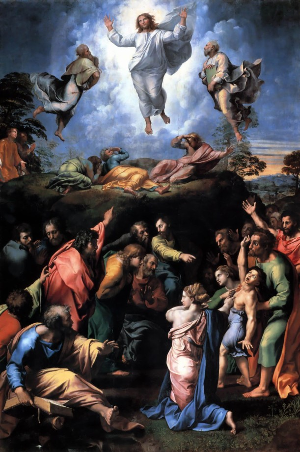 Raphael's painting of the Transfiguration includes the episode of the epileptic boy underneath. While Jesus is transfigured on the mountain, failed attempts are made to heal the boy down below. (click to enlarge)