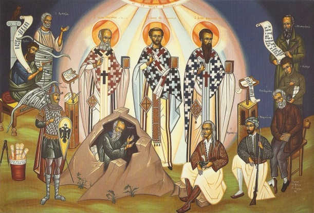 An interesting icon showing the Three Hierarchs (Gregory, Chrysostom & Basil) as enlighteners for all the ages. Pardon the exclusively male images in this icon. It's a weakness of Orthodox tradition. (Click to enlarge.)