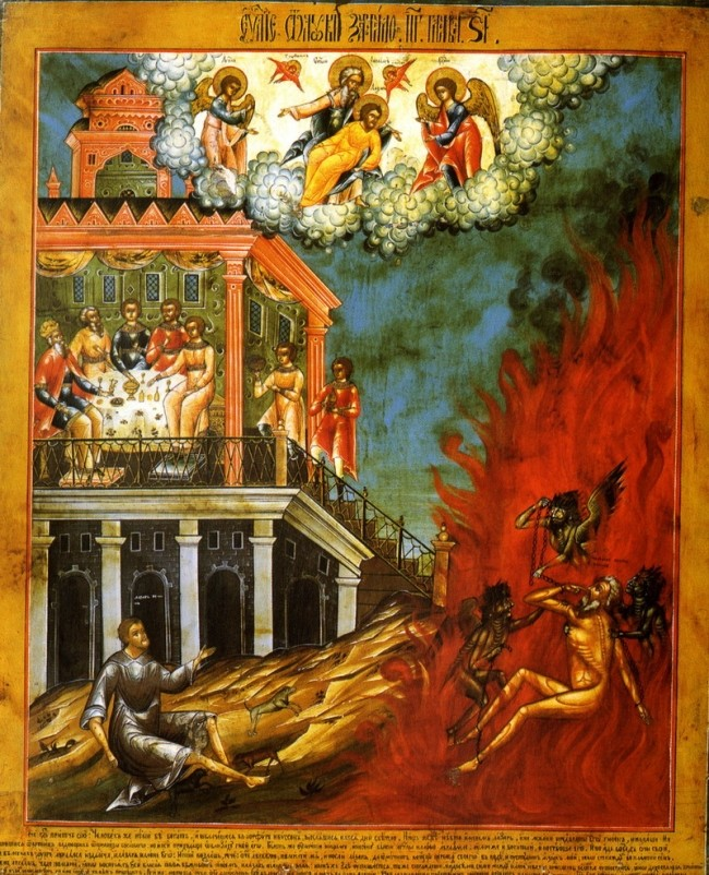 An icon depicting the whole Parable of the Rich Man and Lazarus (Luke 16:19-31)