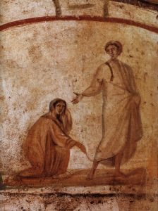 The Woman with the Flow of Blood - Wall painting from the Catacomb of Saints Marcellinus and Peter in Rome, probably from the 3rd century or early 4th century. (click to enlarge)