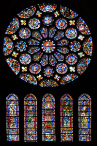 The south transept rose at Chartres Cathedral (click to enlarge)