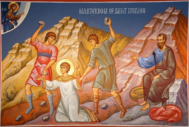Stephen's martyrdom. Saul (later to be Saint Paul) is shown approving the stoning of Stephen. Unfortunately the icon is rather bland and does not capture the intensity of Stephen's visionary experience.