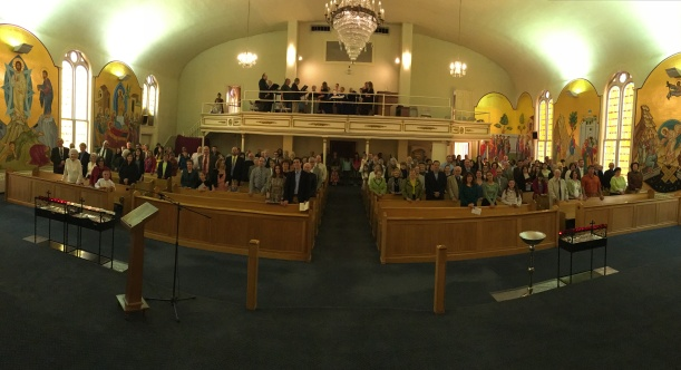 Today's Palm Sunday congregation at Holy Trinity Church, Portland, Maine.
