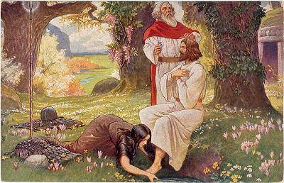 Kundry washes the feet of Parsifal while Gurnemanz reflects on the beauty of Good Friday in a 19th century painting.
