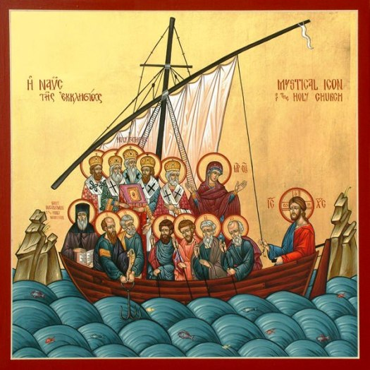 A typical icon showing the church as a boat through the sea of history with Jesus at the helm. Naturally, the icon shows bishops and kings instead of ordinary people.