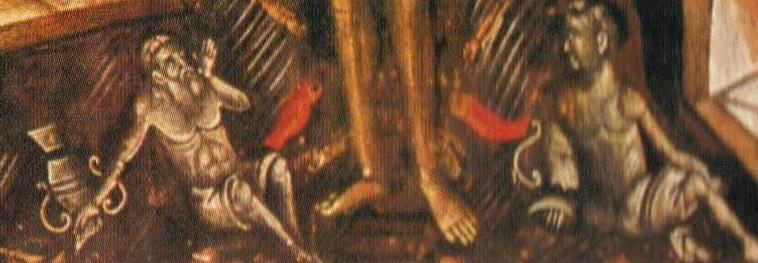 Detailed view of the bottom of the icon on the left to show the two mythological figures in the waters of the Jordan (Click to further enlarge)